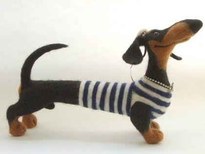 Таксик - морячок - такса,авторская игрушка,игрушка из шерсти,чёрно-белый