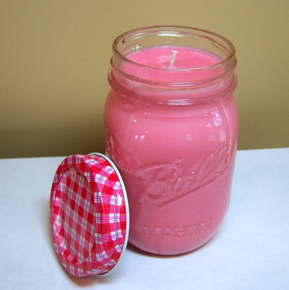 Pink Sugar Candle in Mason Jar,  Scented Soy Candle