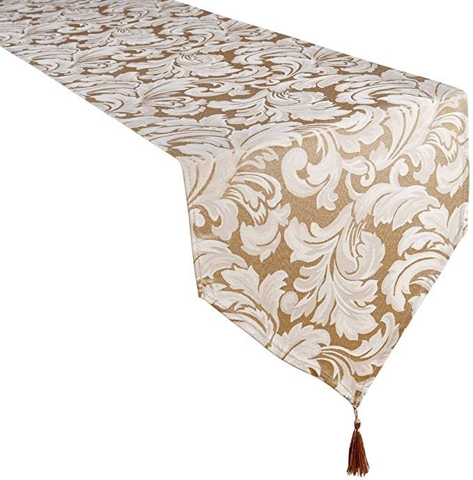 Amazon Com Christmas Damask Champagne Cream Table Runner 13 X 72 Home Kitchen Gold Table Runners Table Runners Craft Presents