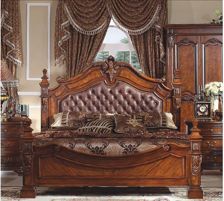 French luxury wooden frame and soft leather double bed for marriage B-232