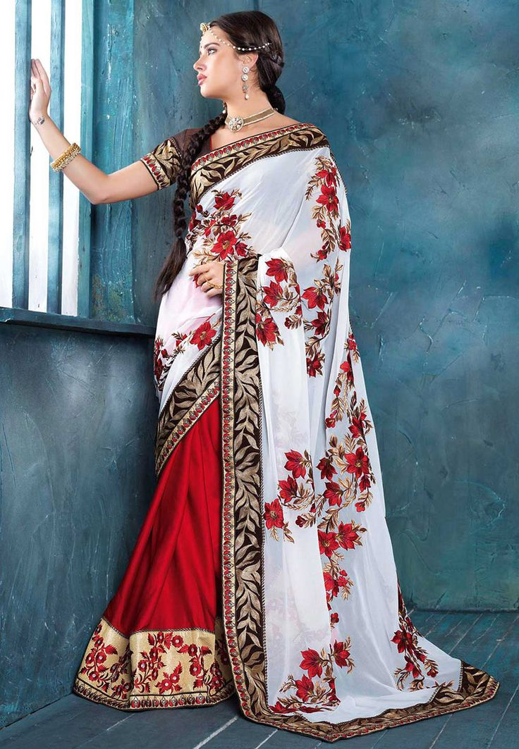 White and Red Faux Georgette and Faux Crepe Saree with Blouse: SXZ2275