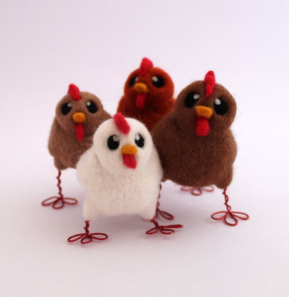 Needle Felted Chicken Farmyard Bird by feltmeupdesigns on Etsy