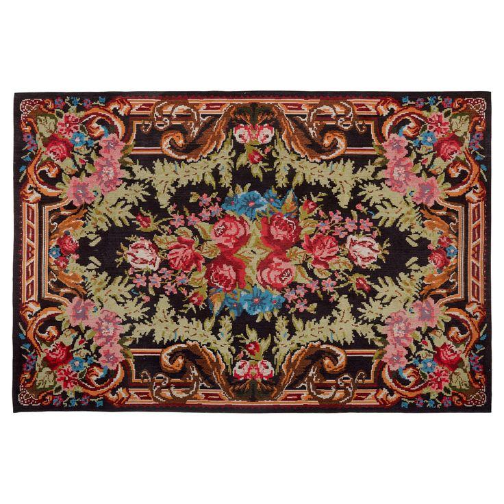 Vrolijk vloerkleed met bloemenprint. 100% katoen. Slijtvast, ademend en makkelijk in onderhoud. 230x160 cm (lxb). #vloerkleed #kwantum