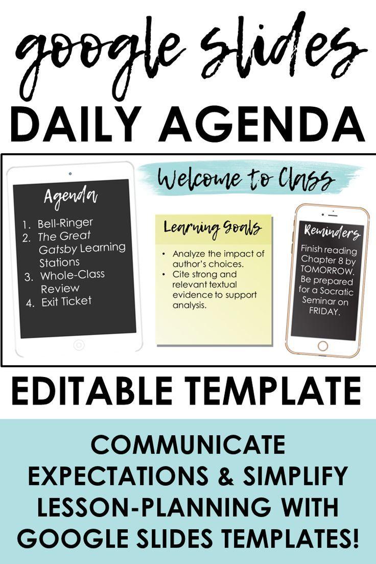 Google Slides Daily Agenda Template Agenda Template Google Classroom Activities Teaching Strategies