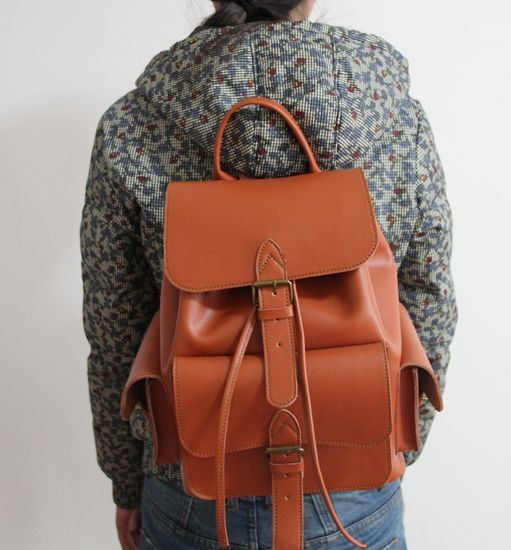 Leather Backpack / School Backpack in Brown D022