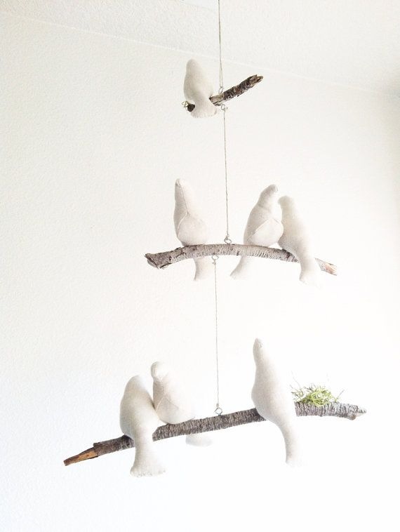 Bird Mobile / Natural / Cream / Linen