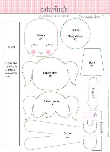 Amigas do Feltro!: O passo-a-passo e os moldes das bonequinhas Erica Catrarina