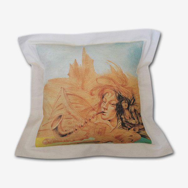 """Fundas de cojín tela 100 % algodón, estampado digital, diseños exclusivos del pintor chileno Valgutié.  Pintura  """"Mujeres del viento"""""""