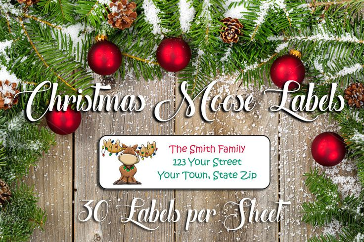 CHRISTMAS Address Labels, Family Personalized Moose with Lights Design
