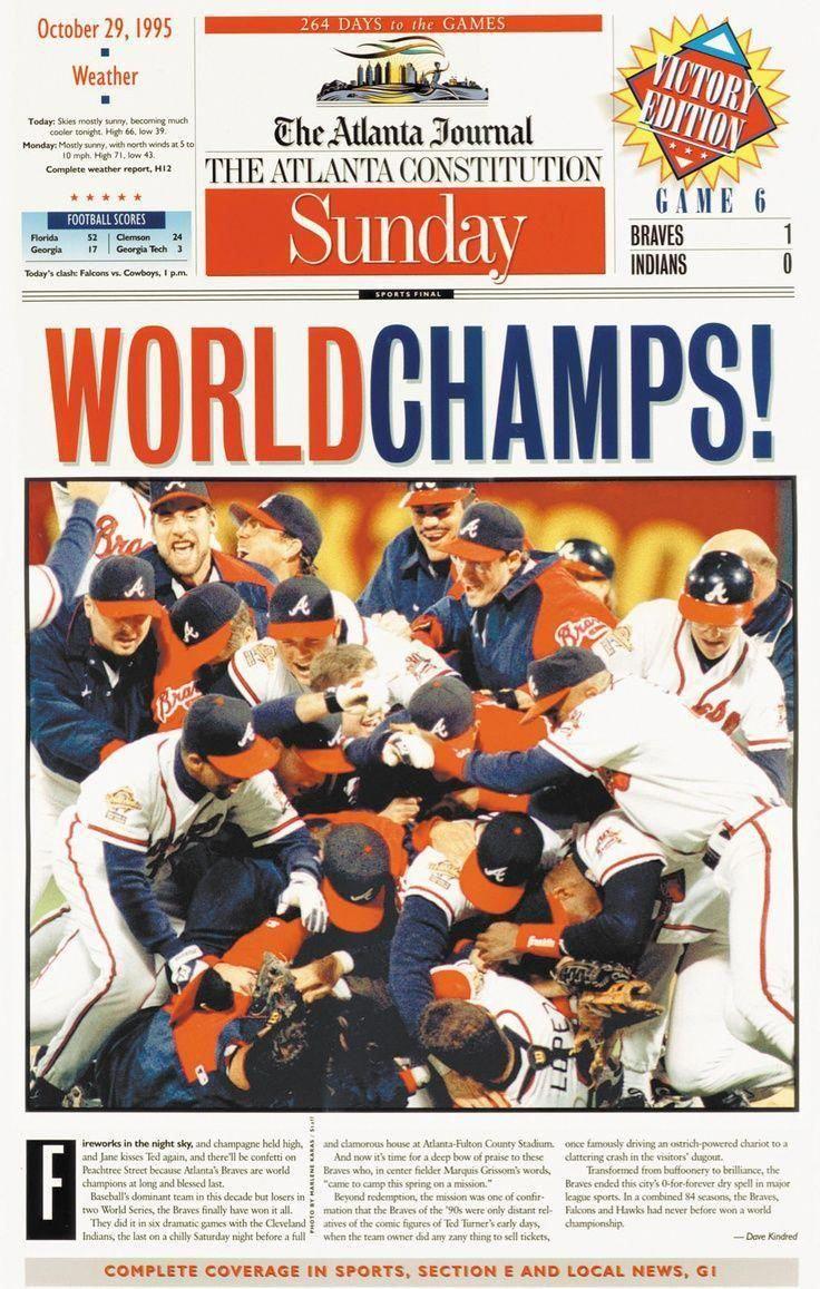 The 1995 Atlanta Braves World Series Champions Baseballamerica Baseballplayoffs Atlanta Braves Atlanta Braves Baseball Braves
