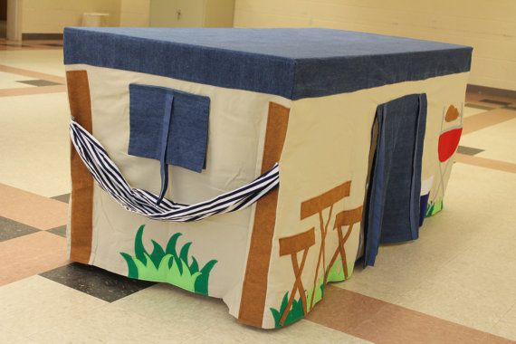 Made to order Camping Tent Custom Tablecloth fort - playhouse fits over dining table. ◅. ▻