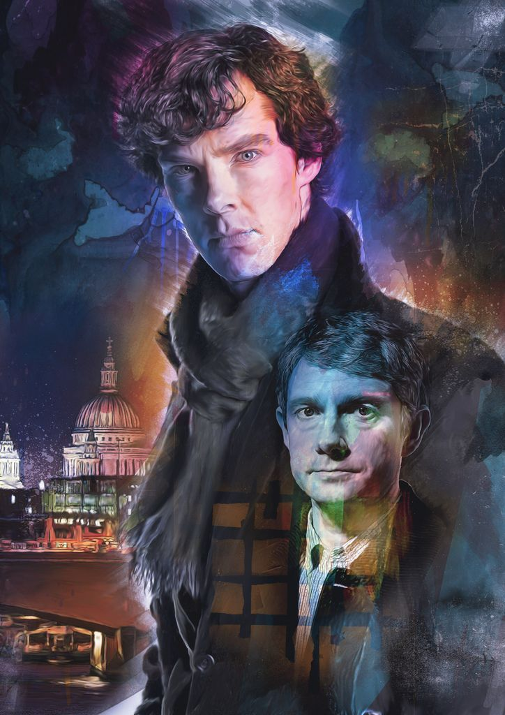 Sherlock: an artistic depiction of Sherlock (Benedict Cumberbatch) and Watson (Martin Freeman)