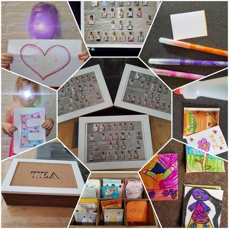 Gepimpte thee doos met persoonlijke boodschap met letters, en daarin zelf versierde theezakjes. Super leuk om te maken en te geven ;)