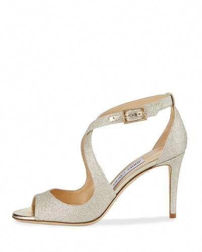 585e748bcfe8 X3JB6 Jimmy Choo Emily Glitter Crisscross 85mm Sandal