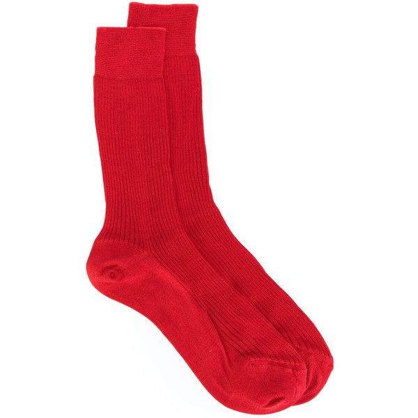 Nº21 ribbed socks ($100) ❤ liked on Polyvore featuring intimates, hosiery, socks, red, silk socks, ribbed socks, red socks and silk hosiery