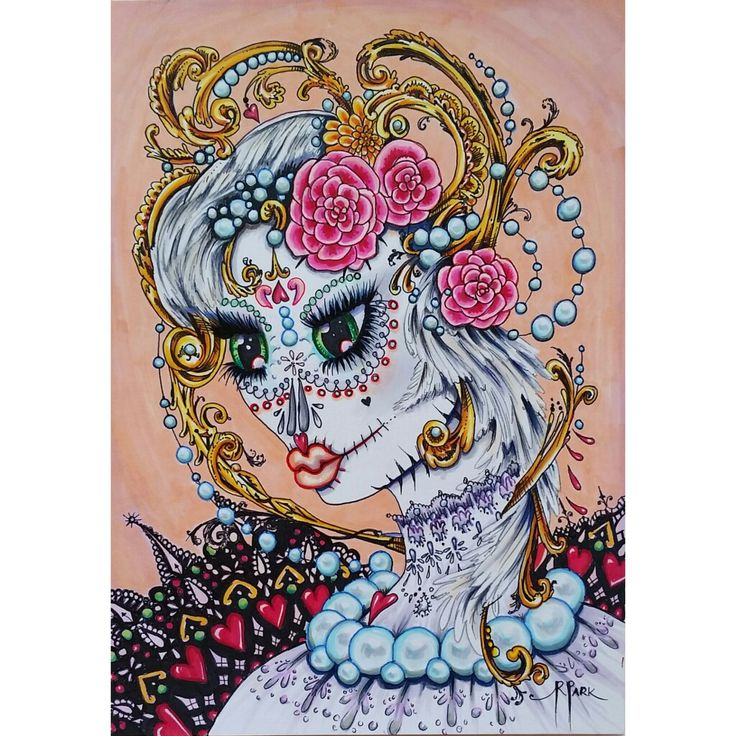 "Original illustration Copic Markers on paper ""Unforgettable"" by Ruth Park - Dia de los Muertos series. $150.00"