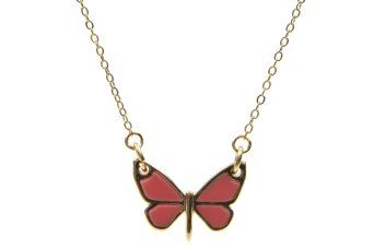 French Connection `Resin Inlay Butterfly Pendant` Necklace (Coral) at chemicaluk.com