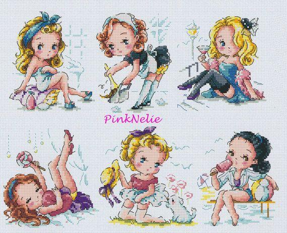 Pin Up Girl - G70 - Counted Cross Stitch Original Design Pattern Chart