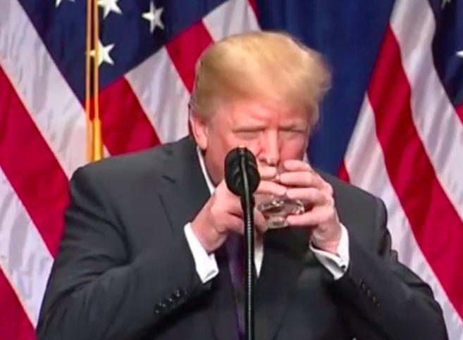 Trump Drinks Water Like Small Child During Big Speech Trump Resist Trump The New Normal