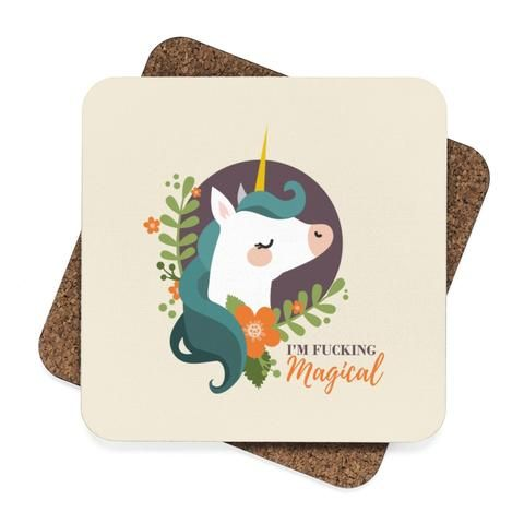 Magical Unicorn Square Hardboard Coaster Set - 4pcs