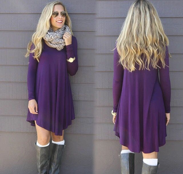 Classy purple tunic dress