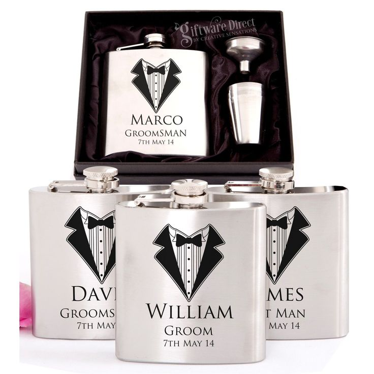 4x Engraved Stainless Hip Flask Gift Sets Personalised Wedding Groomsman Bridal | eBay