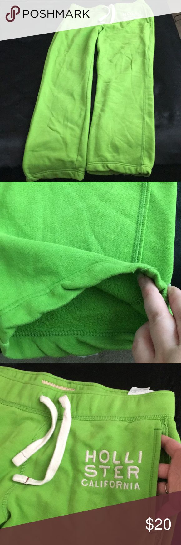 Men's Medium Hollister Lime Green Sweatpants For sale I have a pair of men's sweatpants from Hollister. These have front pockets and a tie waist. Hollister Pants Sweatpants & Joggers