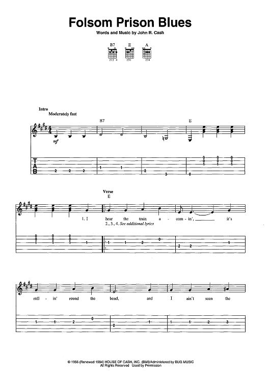 Folsom Prison Blues Sheet Music by Johnny Cash : Discover best ideas about Sheet music and Prison