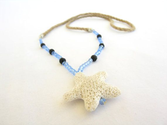 Check out this item in my Etsy shop https://www.etsy.com/listing/230238523/white-lava-starfish-necklace-blue-long