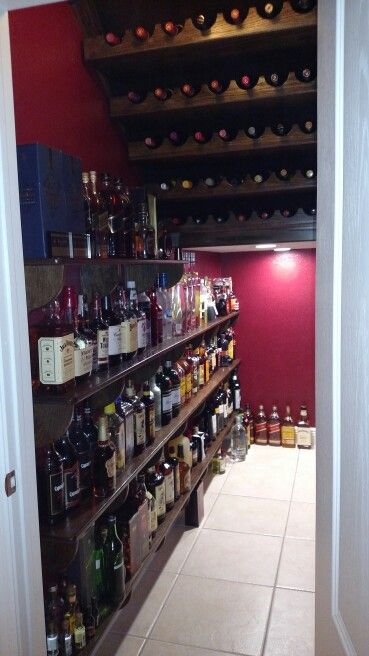 Wine rack, liquor bar under the stair closet