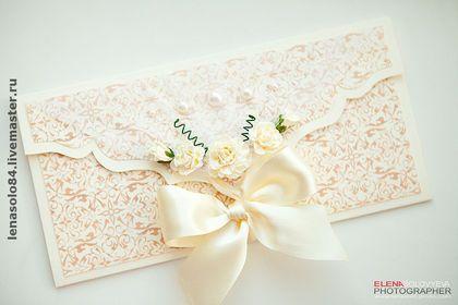 Свадебные аксессуары ручной работы. Ярмарка Мастеров - ручная работа Свадебные приглашения и подарочные конверты. Handmade.