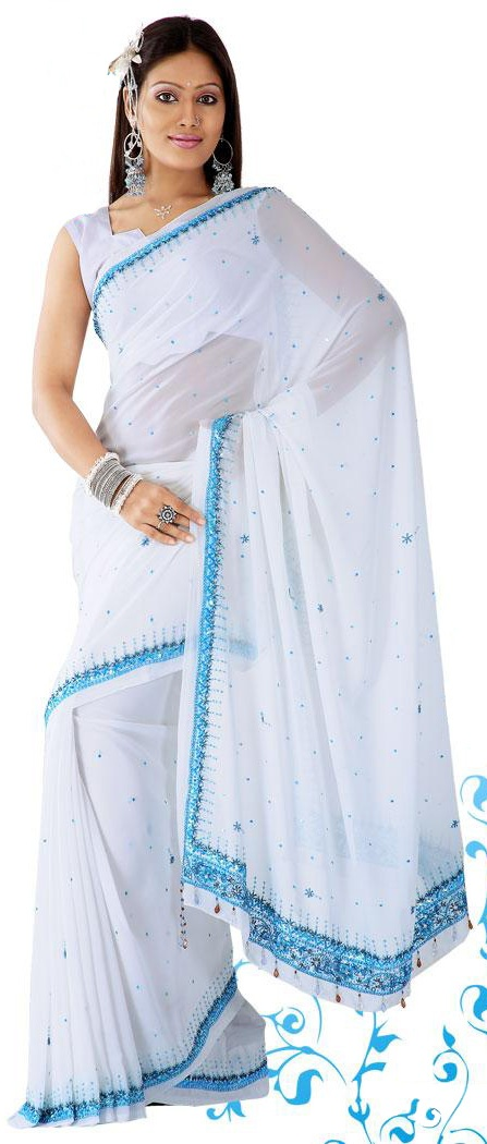 White with Blue Party Obsessions Saree