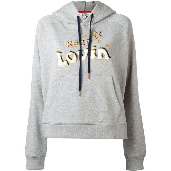 Tommy Hilfiger Keep Lovin hoodie (11.580 RUB) ❤ liked on Polyvore featuring tops, hoodies, grey, grey hoodie, tommy hilfiger top, gray top, gray hooded sweatshirt and grey top