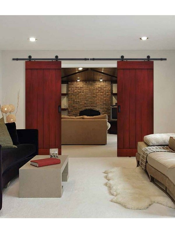 Plank barn door 8 39 0 tall knotty alder double door - Knotty alder interior doors sale ...