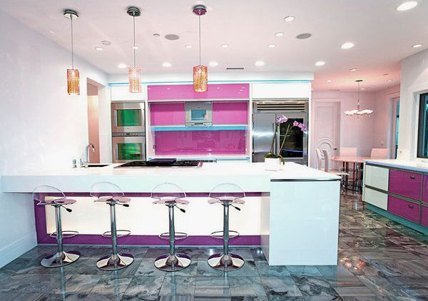 Colorful Kitchen Design Ideas with Modern Neon Lighting