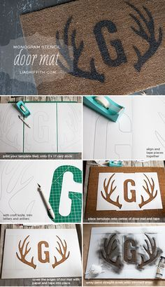 Tutorial: DIY stenciled door mat with free printable letter monogram + deer antler templates for stencils {Lia Griffith}