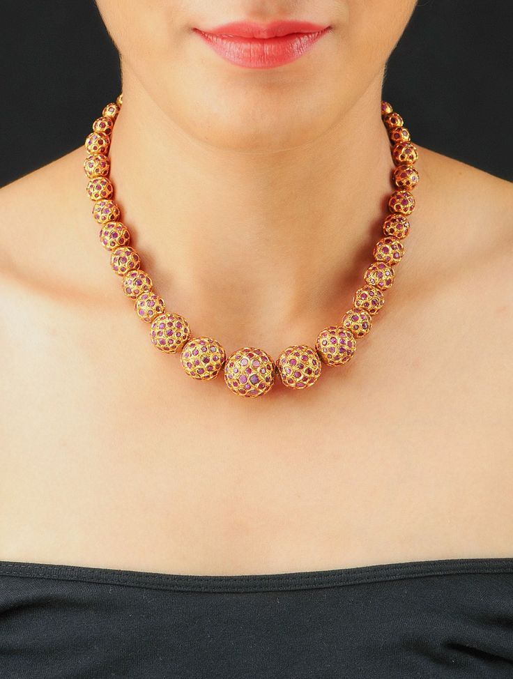 Sangeeta Boochra Designer Maroon Necklace Online at Silver Centrre. For more detail Email US: silvercentrre@gmail.com