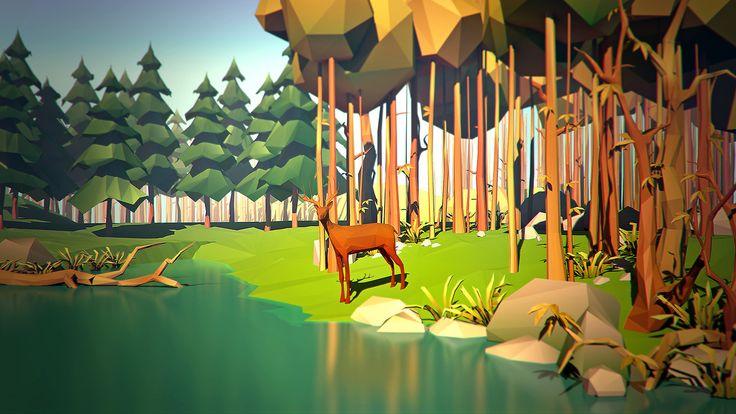 Low Poly Terrain Scene w/ Animal & Water