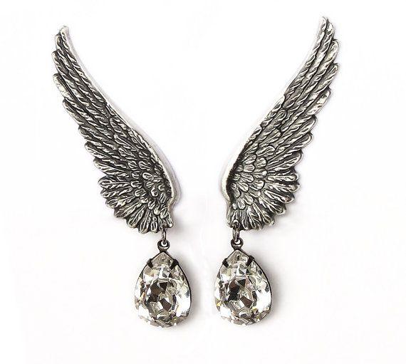 Clip On Earrings Wedding Earings Teardrop ear climber earrings Swarovski Crystal Drop Earring Angel wings Earring Crystal bridal