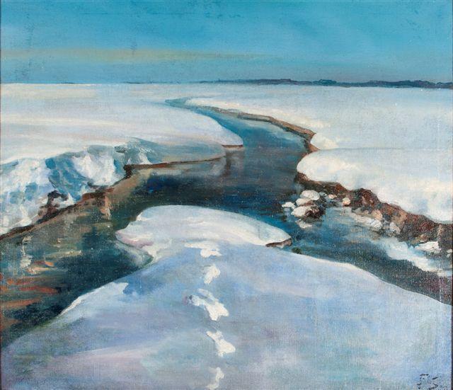 Julian Fałat, Zakole rzeki zimą, niedatowany, olej na płótnie, 77x91 cm