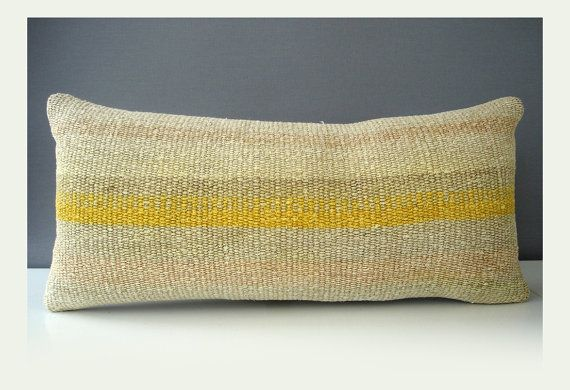 Sukan / Hand Woven - Turkish Hemp Kilim Pillow Cover - 11x24 $149.95