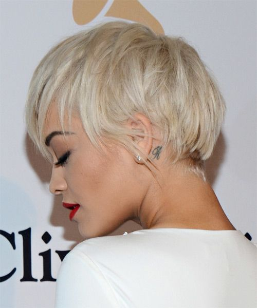 Rita Ora Short Straight Casual Hairstyle with Layered ...