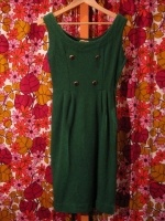 Early 60's wool wiggle dress w double breasted brass buttons - SOLD