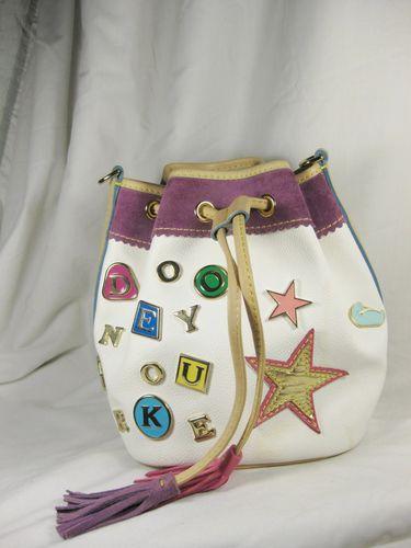 Dooney And Bourke Charm Drawstring Bucket Bag Missing Strap Damaged White Stars Fav Things D B Pinterest Bags