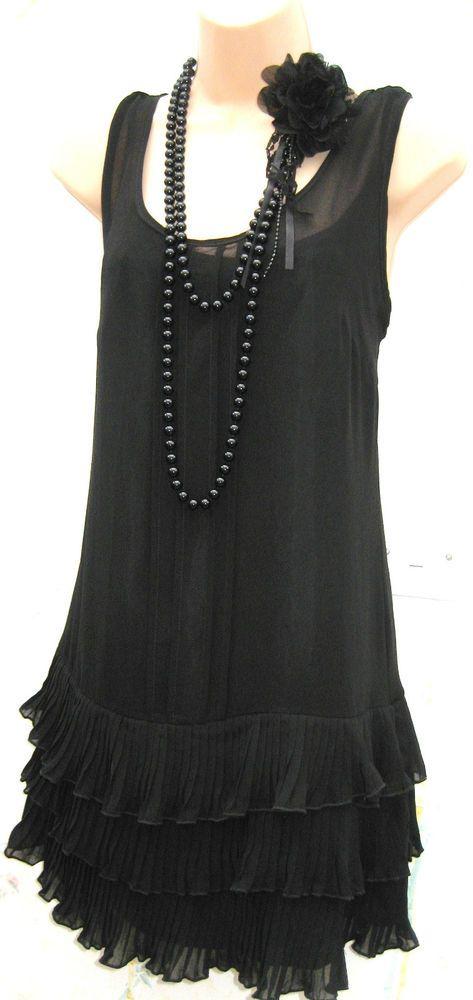 SIZE 8 10 20 S DECO FLAPPER GATSBY STYLE RETRO FRILL BLACK DRESS ♥ US 6 EU 38