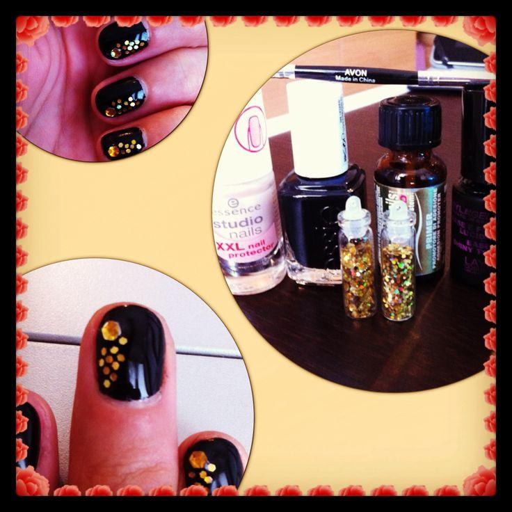 Unghie da matrimonio!!! Base Essence Studio Nails XXLNail Protection - Essie Licorice #88 - Primer Layla - Top Coat LaylaGel Polish #nail #nails #essence #essie #licorice #layla #laylagel #soakoff #primer #blackandgold #black #gold #nero #oro