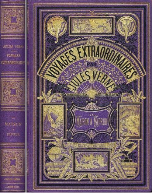 """Una cubierta de 1800 """"Viajes Extraordinarios"""" de Julio Verne.  http://www.amazon.es/La-Suerte-las-Marionetas-ebook/dp/B00C49YRY0"""