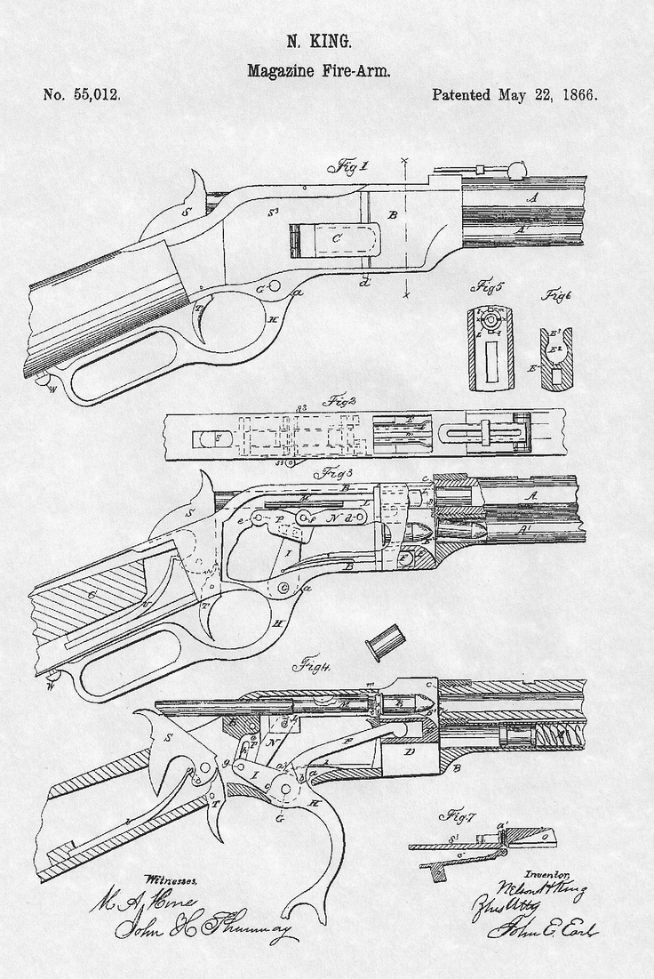 Nelson King patent for upgraded magazine fire-arm made popular by the 1873 Winchester (Billy the Kid and Gun that won the west)