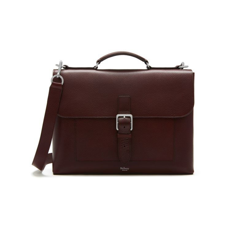 Mulberry - Chiltern Small Briefcase in Oxblood Natural Grain Leather