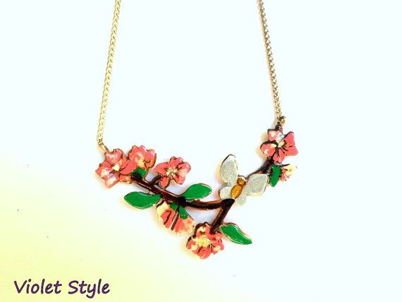 handmade Pendant  almond flowers and butterfly by violettstyle, €32.52